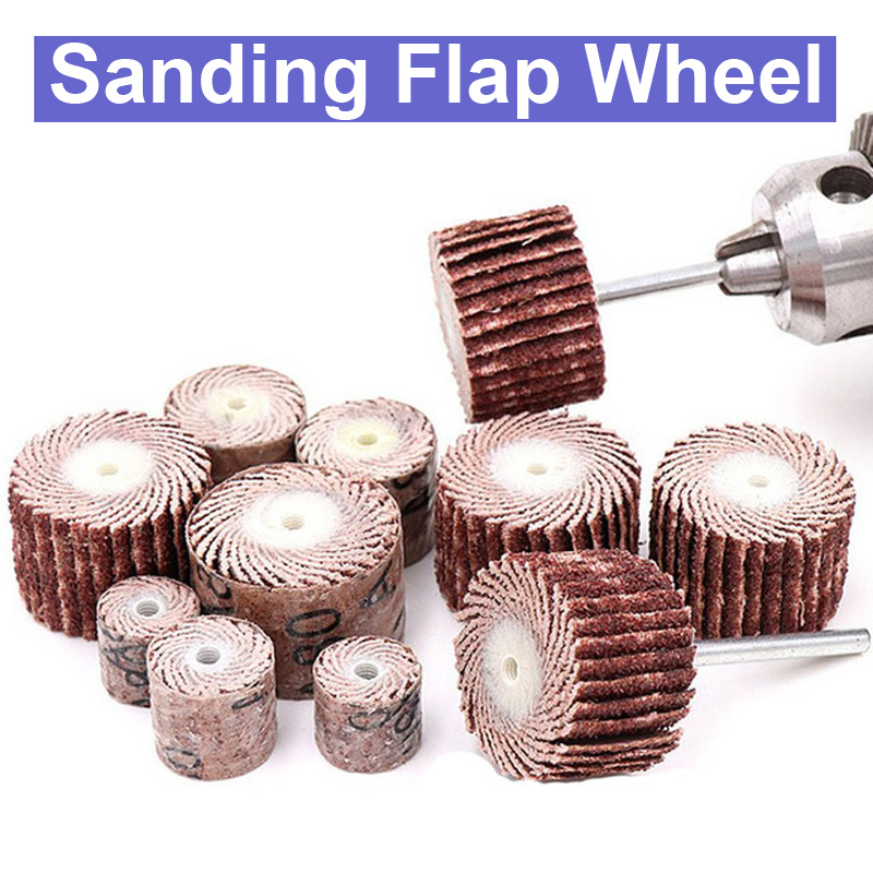 10pc 3mm Shank 10/12/15/20mm Dremel Accessories Sanding Flap Disc Grinding Sanding Flap Wheels Sand Rotary Tool 80-600 Grit