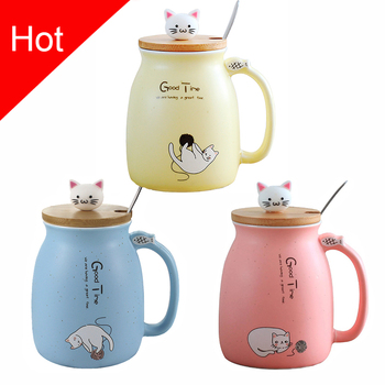 Creative Color Cat Heat-Resistant Mug With Lid