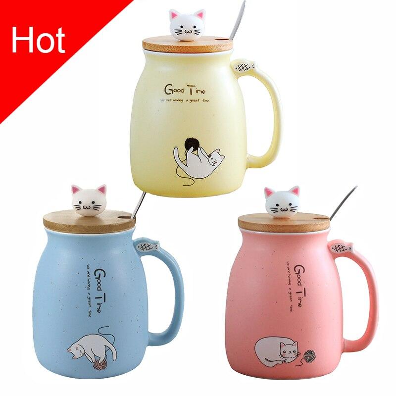 Criativo gato cor-resistente ao calor Caneca dos desenhos animados com tampa 450 ml copo gatinho crianças escritório copo de café canecas de cerâmica copos presente