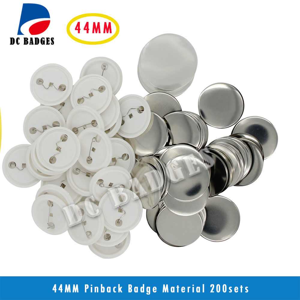 Hot Selling 1-3/4 44mm 200sets  Plastic Pin Badge Material,Blank button parts,Tin badge components Supplier free shipping 3 75mm 200sets plastic pin badge material blank button parts tin badge components