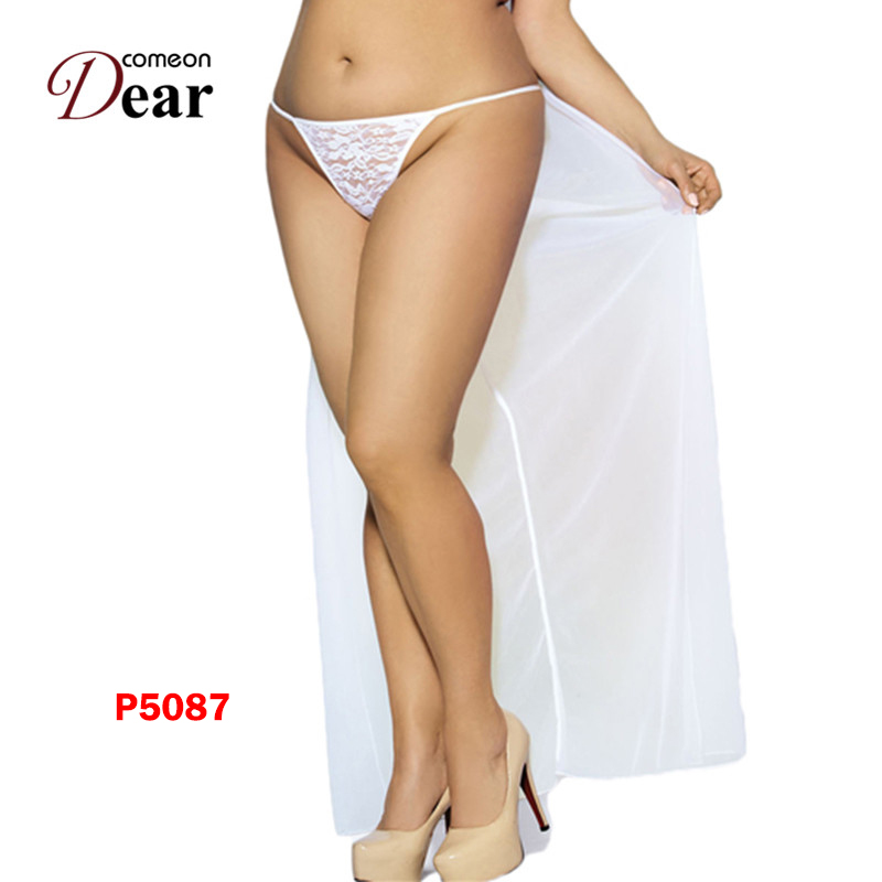 Comeondear A508 Plus Size Sexy G String With Veil Solid White Transparent  Lingerie Underpants Appliques Lace Seamless Sexy Women-in women s panties  from ... 87521d1595
