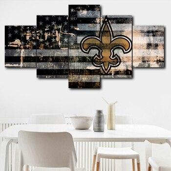 5 Pieces Canvas Art Picture Modular New Orleans Saints