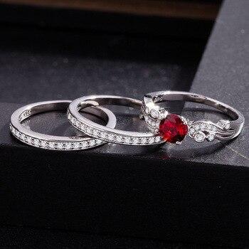 643159800ad8 3 set de circón de lujo boda Ruby rojo granate anillo para las mujeres con  pavimentado Micro de plata de cristal de Color de compromiso joyería regalos