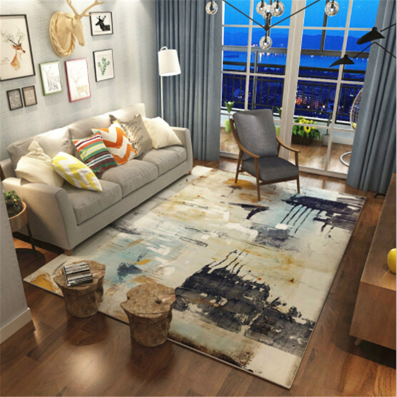 Abstract Style Polyester Large Soft Carpets For Living Room Carpet Area Bedroom Rug Home Floor Delicate New Fashion Door Mat Rug