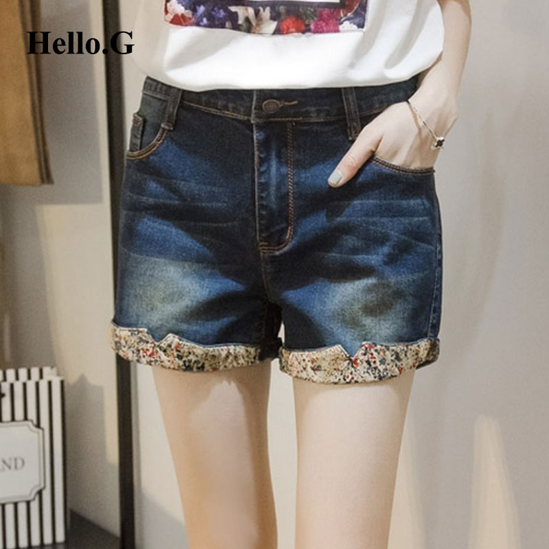 2016 Summer Style Clothes Jeans Women Denim Shorts With High Waist Pocket Floral Flange Loose Denim