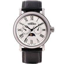 TIME100 мужские модные часы Римские цифры Солнце Фаза Кварцевые Часы Черный Кожаный Ремешок Наручные Часы Для Мужчины