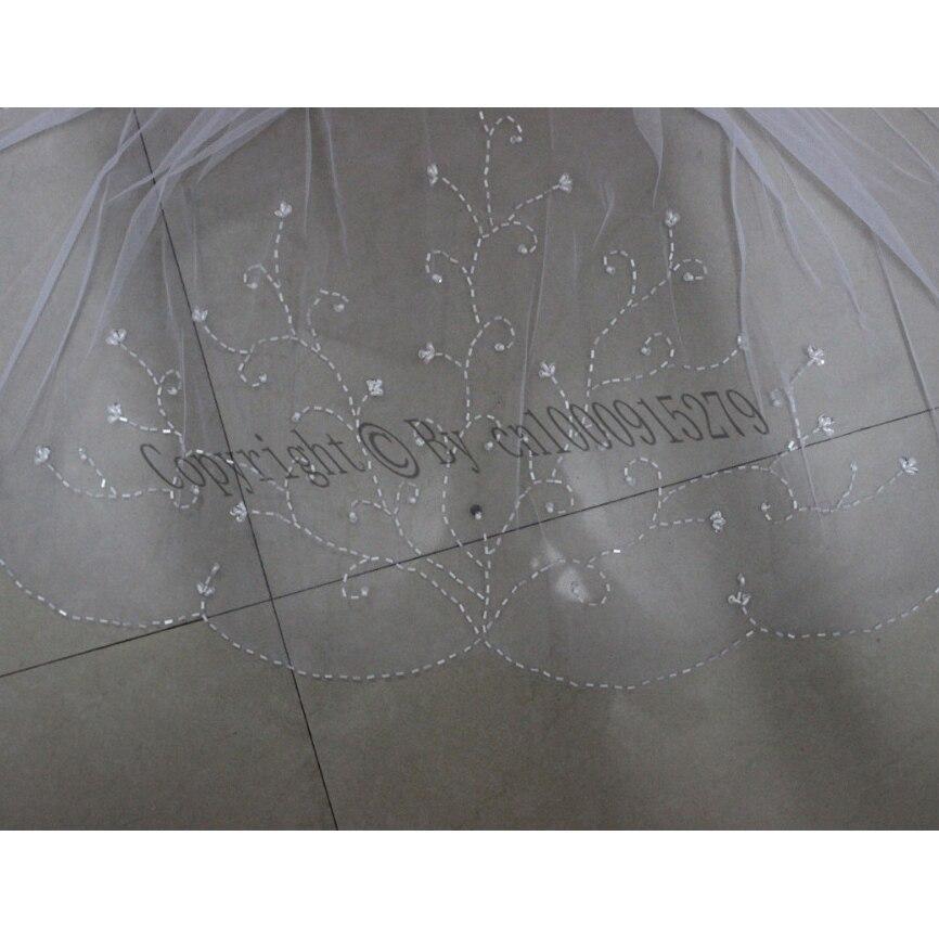 2 Lagen Handgemaakte Ivoor Wit Bridal Vail Kralen Bruiloft Accessoires Sluier Trim Elbow Met Kam Goederen Van Elke Beschrijving Zijn Beschikbaar
