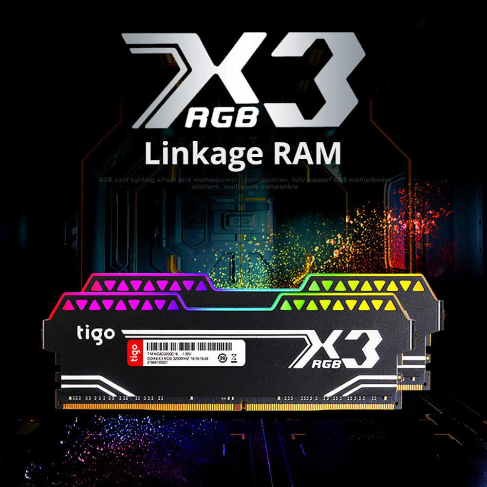 Tigo Ram 8 GB DDR4 Game Memori RGB LED Light PC DDR4 3200 Mhz untuk Desktop XMP 2.0 Overclock Memoria x3 Mulitcolor