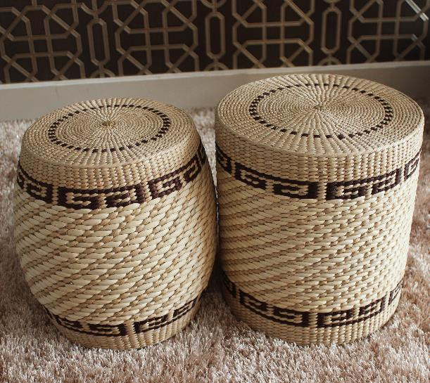 Traditional Art Pure Natural Rattan Stool Chair Handmade