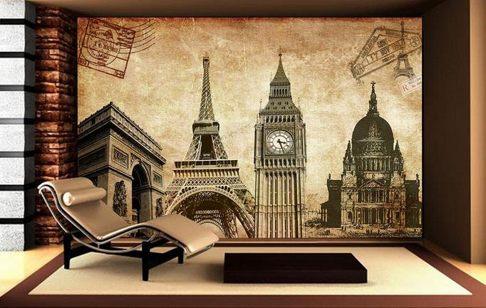 Custom 3d Photo Wallpaper Room Mural Non-woven Retro Big Ben Tower Decoration Painting 3d Wall Mural Wallpaper For Wall 3d Be Friendly In Use Wallpapers
