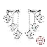 925 Sterling Argent Vintage Unique Halloween Fantôme Mignon Boucles D'oreilles pour les Femmes Bijoux