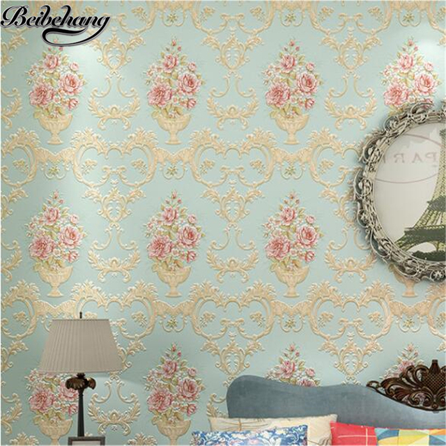 beibehang papel de parede American pastoral large reliefs AB with non-woven wallpaper bedroom living room background wallpaper