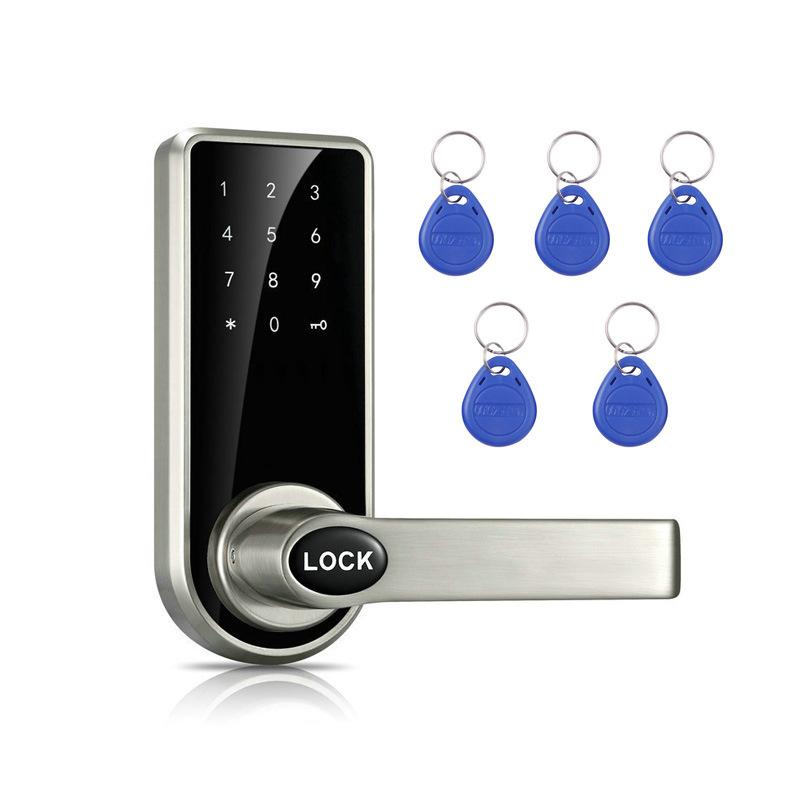 Smart Door Lock Security Touch Screen Electronic Password Door Lock Digital Code Keypad ID Card Keyless Latch Bolt Lock