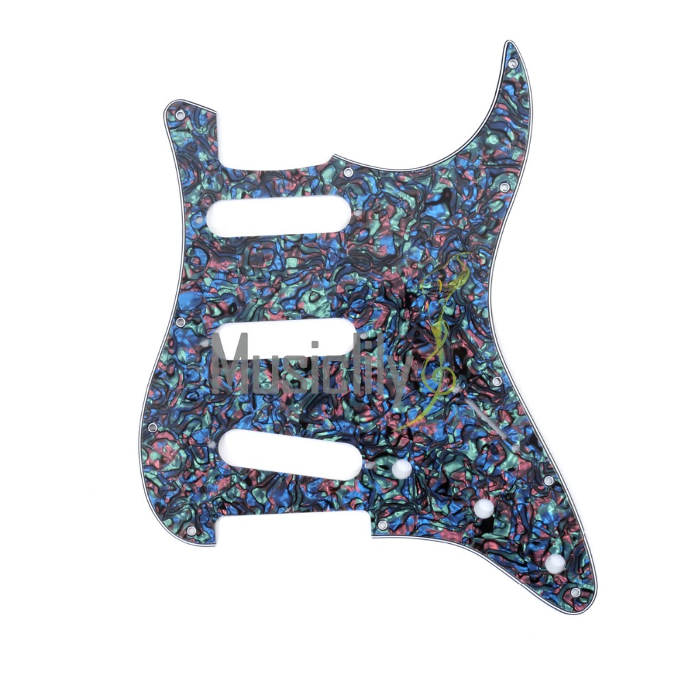 Musiclily Multiple Color 4Ply SSS Pickguard For Fender Standard Stratocaster Strat ST Guitar 4pcs new quality guitar pickguard sss yellow pearl 11 hole for electric strat replacement