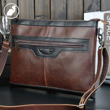 ETONWEAG New 2016 men famous brands Italian leather casual organizer shoulder bags brown zipper business style messenger bags