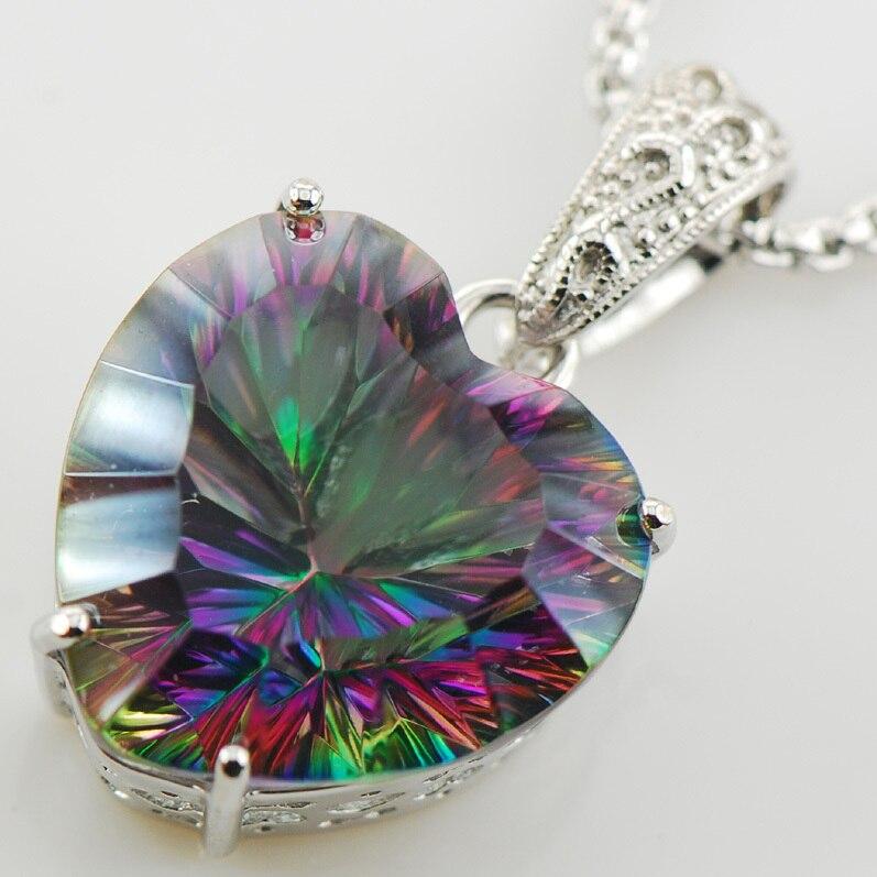 Huge Concave Cut Rainbow Crystal Zircon 925 Sterling Silver Pendant TE566