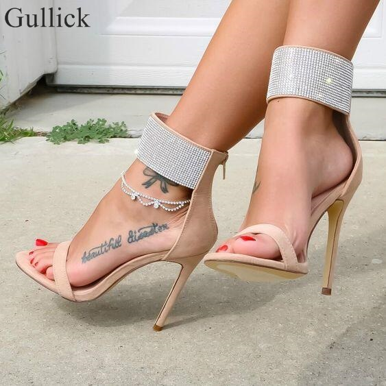 Gullick Crystal Embellished Ankle Strap Sandal High Heels Red Beige Suede Cut-out Back Zipper Cage Shoes 2018 Summer Sandals
