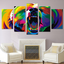 Home Decoration Modern HD Printed Paintings 5 Pieces Animal Brown Bear Modular Frame Posters Tableau Wall Art Pictures Canvas(China)