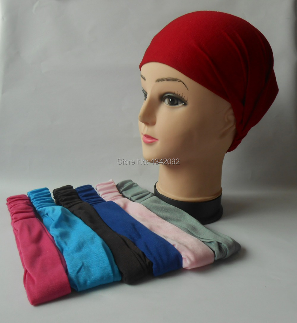 Women s Multi-function Head Scarf Bandana Elastic Cotton 3 in 1 Turban  Headband Wrap Wristband Plain Hair Accessories 55a27025f6e
