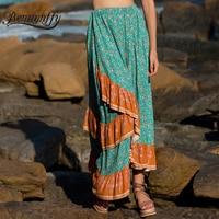 Benuynffy Womens Color Block Print High Waist Bohemian Skirts Long Women Vacation Beach Casual Layered Ruffle Summer Maxi Skirt