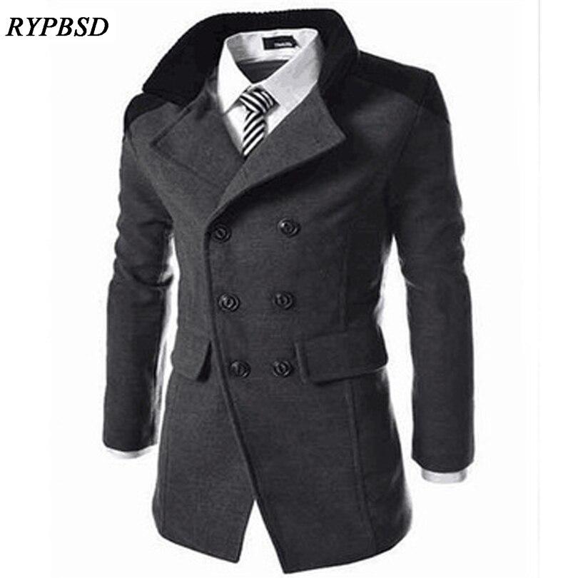 Grey Coat Men Business Fashion Casual Men Wool Coat Double Breasted Turn-down Collar Wool Coat Male Winter Men Wool Coats M-XXXL
