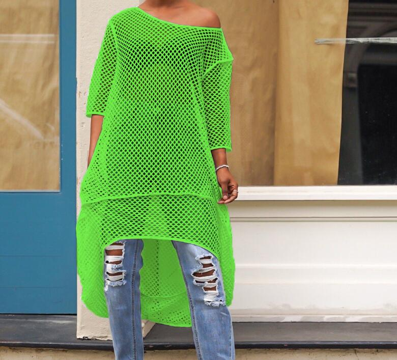 Women Crochet Solid Cover Up Beach Wear Summer Sexy Mesh Beach Dress Cover Up Swimwear Knitting Bath Suit Tunic Robe in Dresses from Women 39 s Clothing