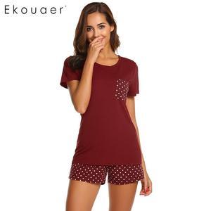 Image 2 - Ekouaer Women Sleepwear Pajamas Sets O Neck Short Sleeve Tops Dot Pocket Shorts Pajamas Set Ladies Casual Home Nightwear