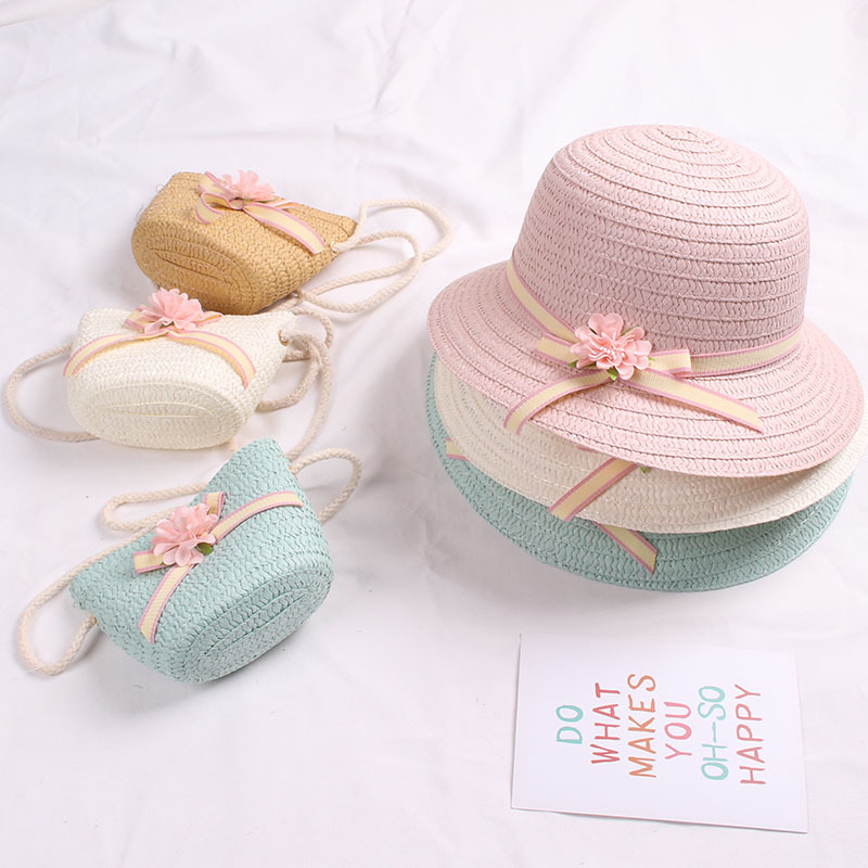 Cute Girls Straw Hat Sun Hat + Shoulder Bag Handbag 2pcs Sets for Summer Kid Princess Floral Beach Hats for Party Outdoor 1