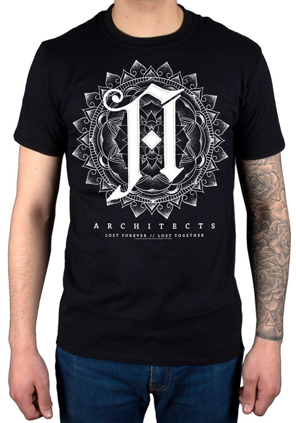 Architects Lost Foever Lost Together T-Shirt Licensed Merchandise Casual Short Sleeve Mens Fitness T Shirt Black