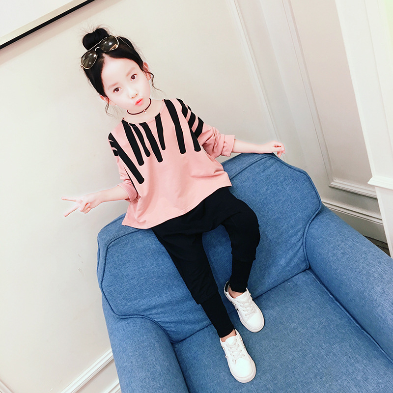 New Arrival Daiyi Girls Sport Suits Striped Cotton Children Clothing Suit Set For 3-14 Years 2018 new arrival girls clothing set