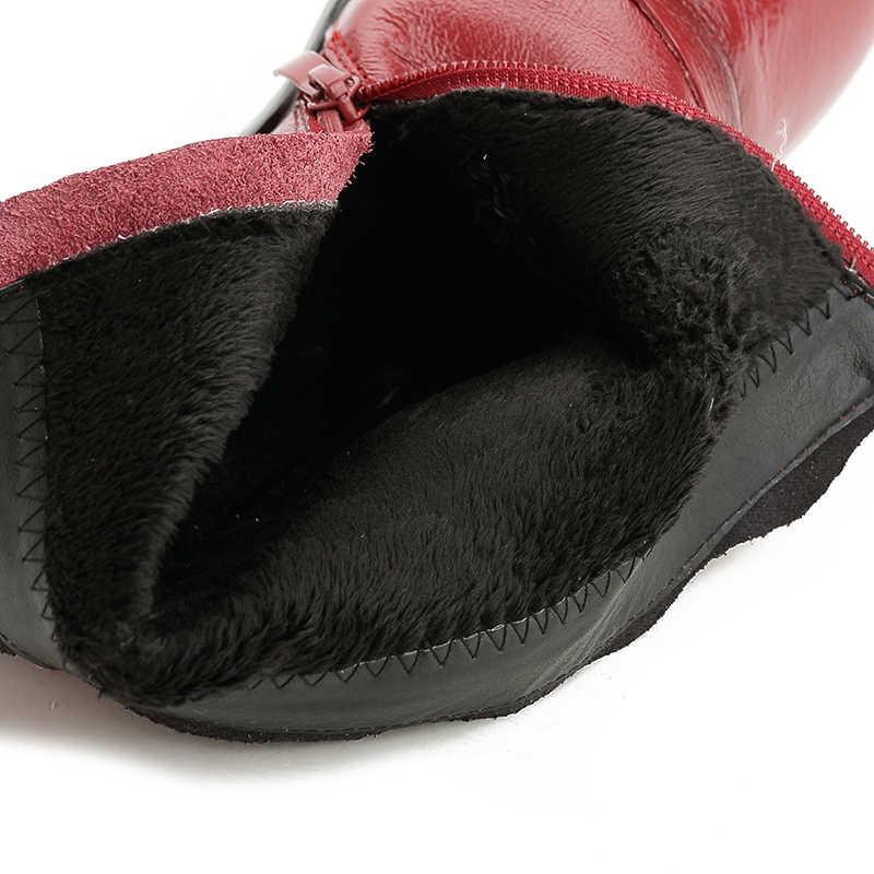 Xiuteng yeni varış 100% gerçek kürk klasik Mujer Botas su geçirmez hakiki inek derisi deri peluş çizmeler kış ayakkabı