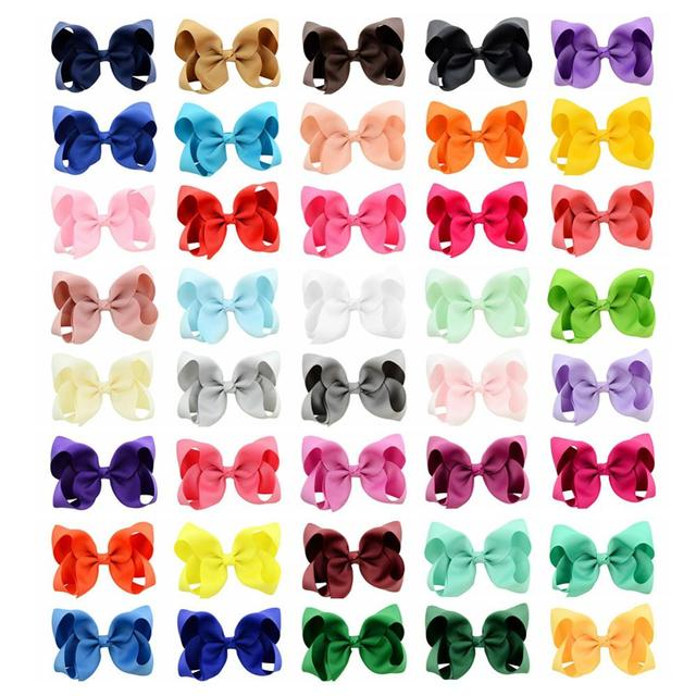 3/4/6/8inch Boutique Handmade Colorful Solid Ribbon Grosgrain Hair Bow With Clips For Kids Girls Hair Accessories