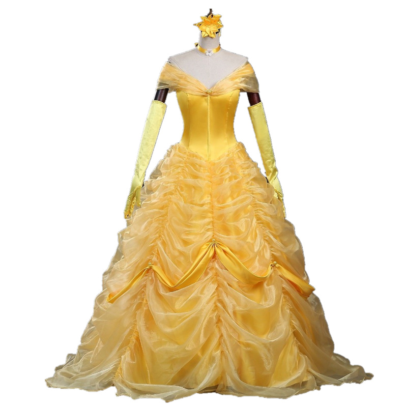 Cartoon Cosplay Women Halloween Princess Costume beauty and the beast Belle Dress Adult Princess Belle Costume