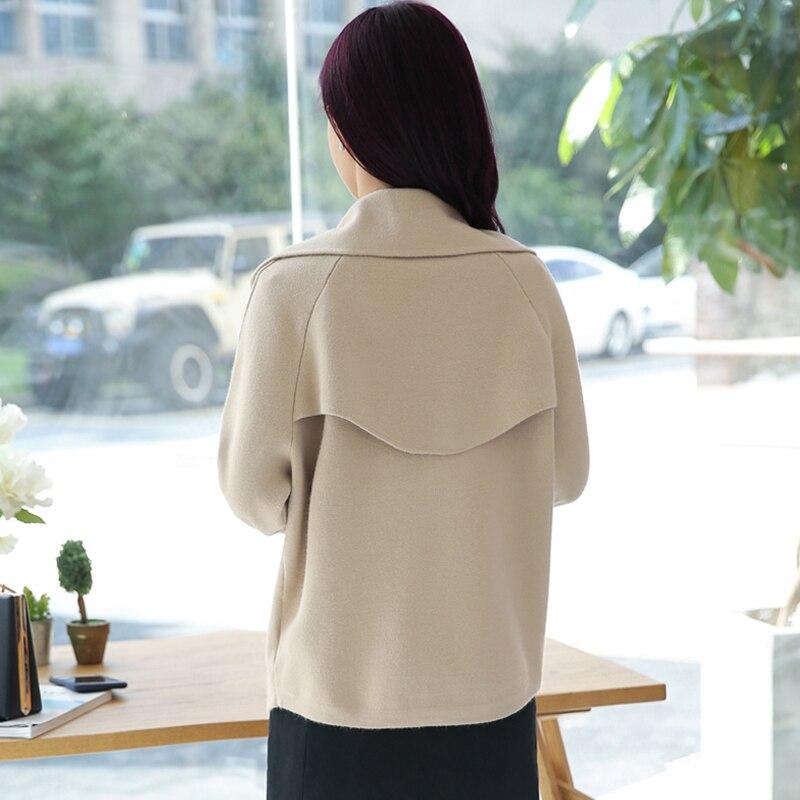 Femme Manches Longues Double Nouveau Manteau allumette Khaki De Taille Mince Casual Automne Tout Mode Hiver Tgh74 Lâche Grande À Boutonnage Laine qwUwAp6Ttx