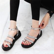 Zapatos de Mujer Sandalias Zapatos de Mujer Gladiador Niñas Dulce Rhinestone Plana Señoras Zapatos de Verano Playa Bohemia Ocasional Sapatos Sandalia