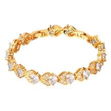 U7 pulseras de cristal para las mujeres cubic zirconia oro amarillo plateado al por mayor encanto pulseras y brazaletes de navidad regalos h916