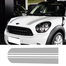Pair of Bonnet Hood Racing Vinyl Graphics Kit Decals Stripes Stickers For 2010-2016 Mini Cooper Countryman R60 3-Color