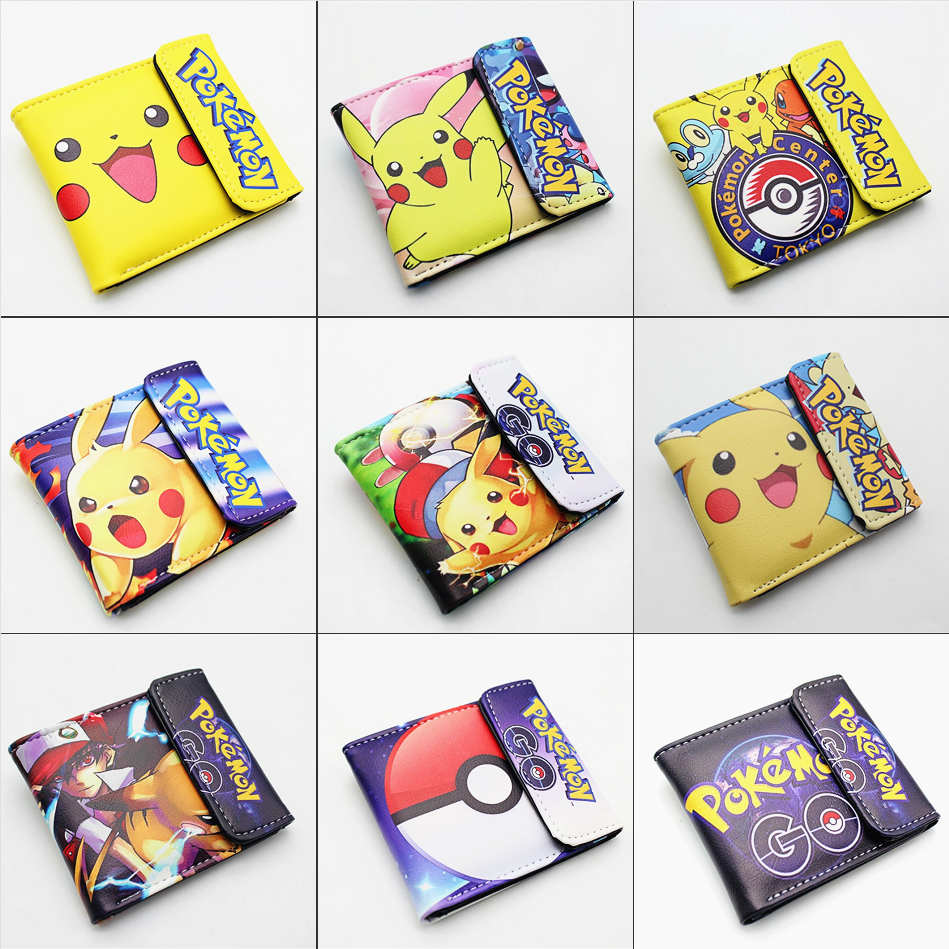 Pokemon Pikachu Pu Short Wallet Bifold Photo Card Holder Layers Purse Leather Boys Girls Men's Cartoon 3D Print Button Wallets