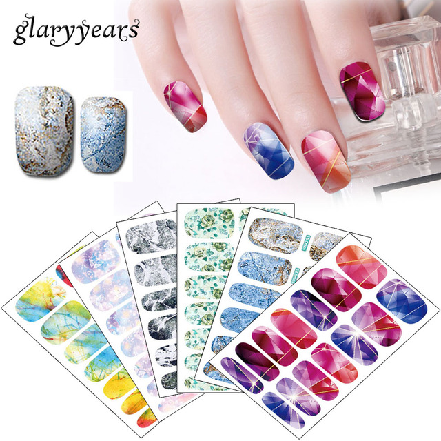 28 K Designs 1 Piece Colored Nail Art Full Cover Sticker Water ...
