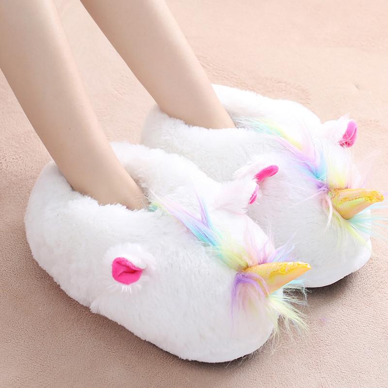 Winter cute cartoon unicorn home slippers women furry fluffy warm plush indoor shoes ladies house bedroom slides christmas gift winter indoor slippers women warm plush home shoes cute cartoon unicorn slippers fluffy furry soft unicornio house slides ladies