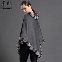 Cashmere Rabbit Fur Pullover Shawl Poncho Fashion Fur Scarves Triangle Shawl with Fur Pompom Cachecol Warm Trendy Women Pashmina