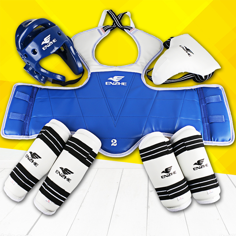 Good Quality taekwondo Protectors 5pcs karate helmet vest guard Armguards clip sparring gear shin groin Guard back support 2016 newborn baby rompers cute minnie cartoon 100% cotton baby romper short sleeve infant jumpsuit boy girl baby clothing