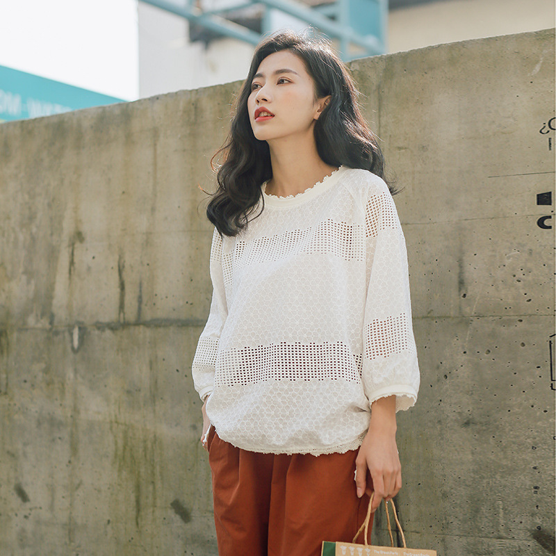 Women Cotton Eyelet Embroidery Shirt Blouses Cinched Tops Spring Summer