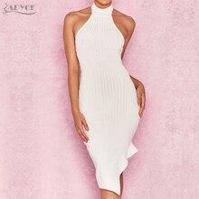 ADYCE New Bandage Dresses 2018 Celebrity Evening Party Dress Vestidos Sexy Halter Sleeveless White Backless Club Women Dresses