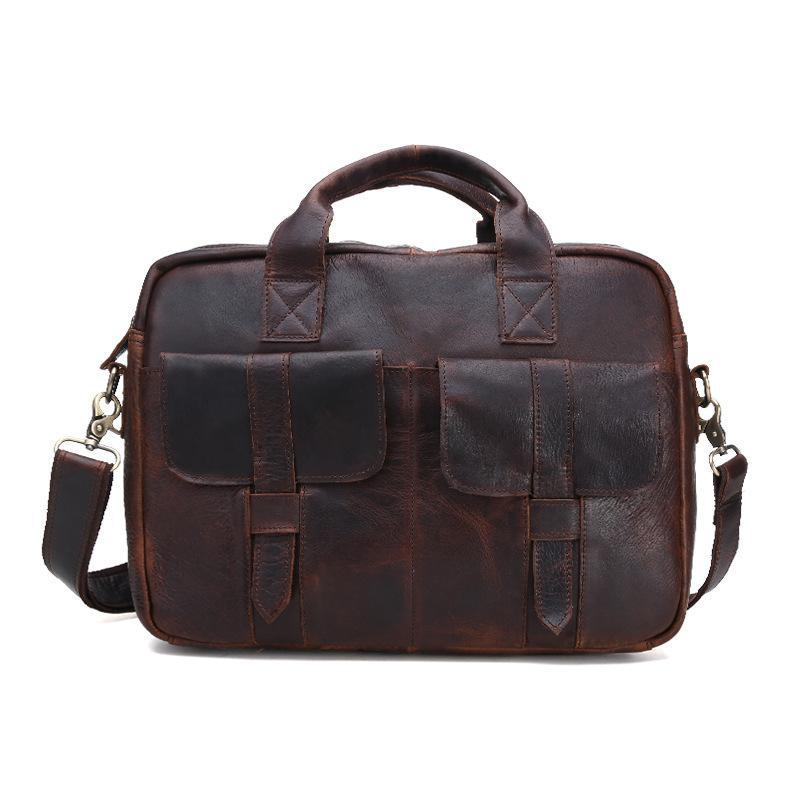 2016 Sale Vintage Real Genuine Leather Bag Men Messenger Bags Cowhide Portfolio Briefcase Business Travel 14