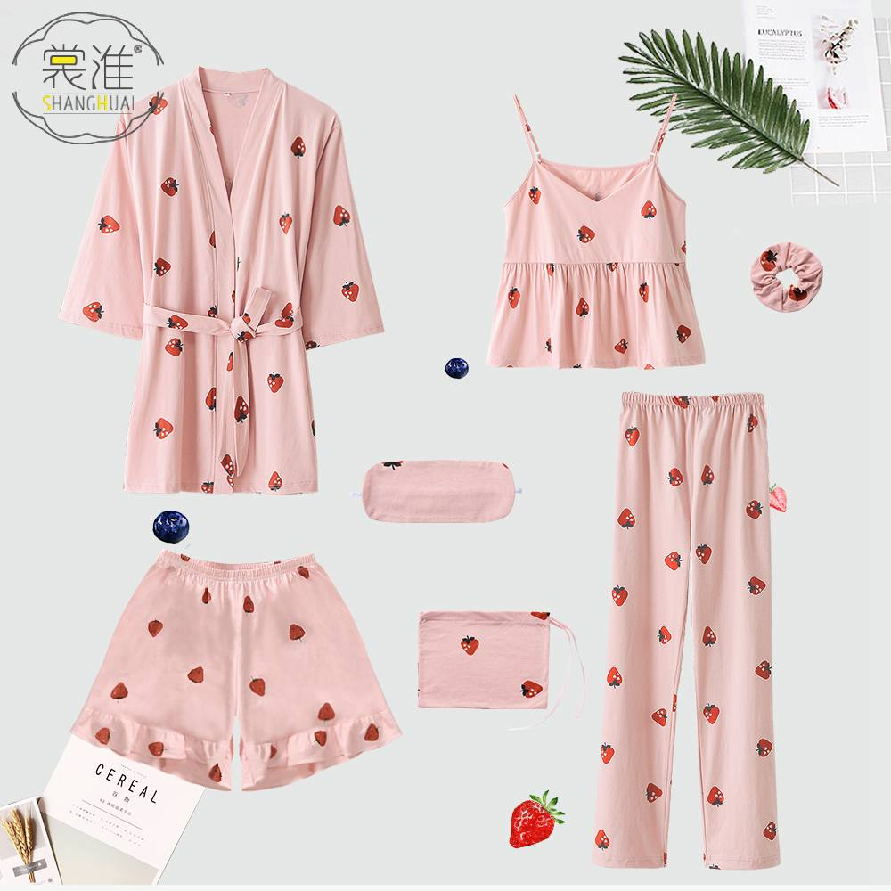 Women's 7 Pieces Pyjama Set Women Spring Summer Sexy Cotton Pajamas Sets Sleep Suit Sweet Cute Nightwear Home Clothes Pink
