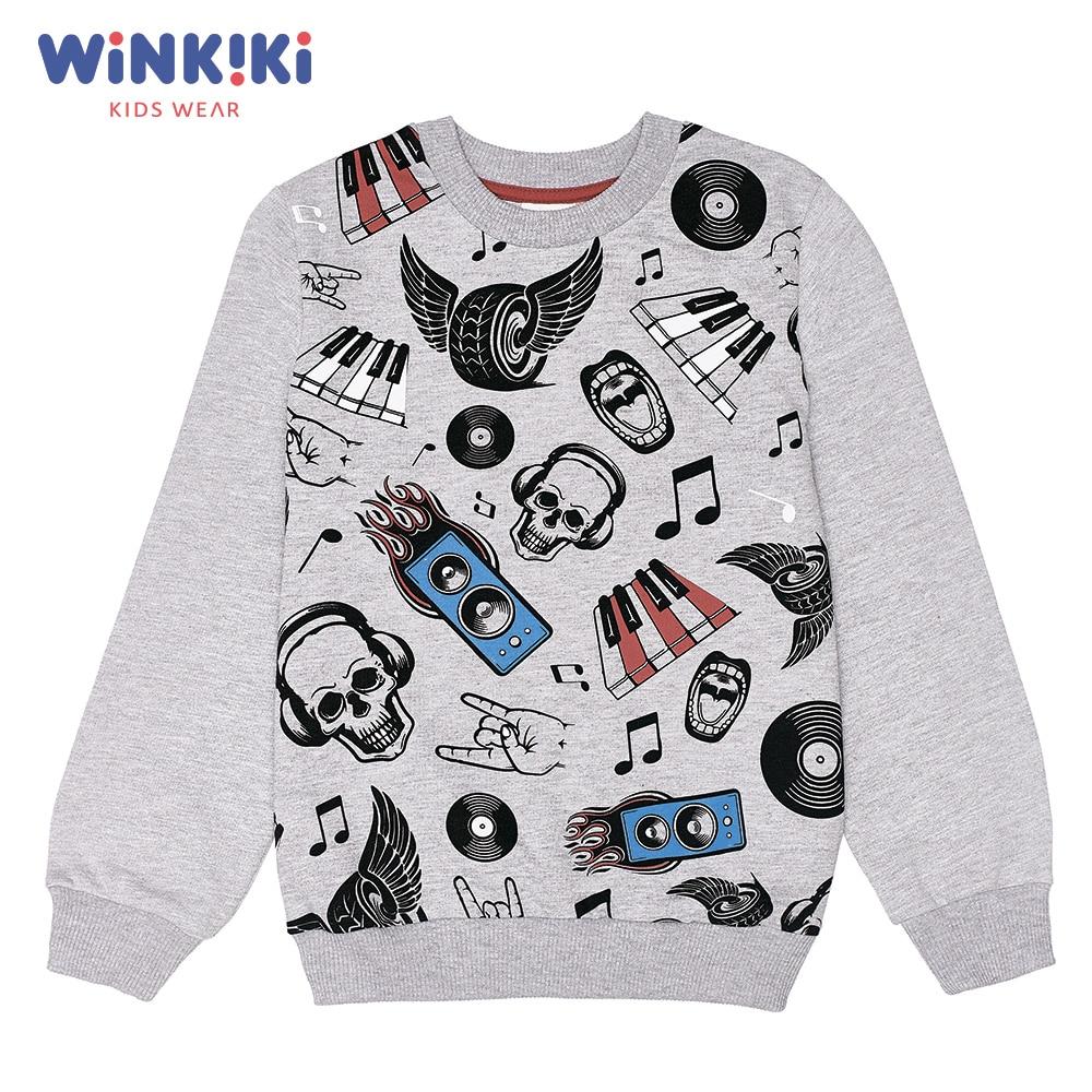 Hoodies & Sweatshirts Winkiki WJB91384 children clothing kids Cotton Gray Boys Casual