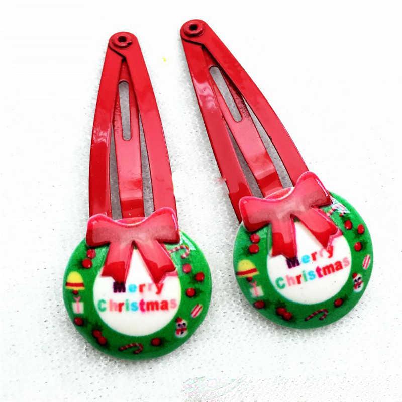 10 Chiếc Bé Gái Phụ Kiện Tóc Giáng Sinh Kẹp Tóc Quà Giáng Nơ Nhựa Hoạt Hình BB Clip Ông Già Noel Barrette Hoa Kẹp Tóc Cho trẻ Em