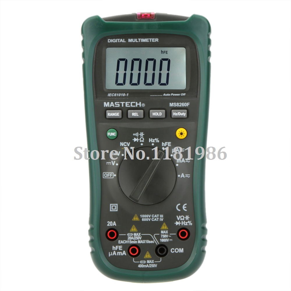 MASTECH MS8260F 4000 Counts Auto Range Megohmmeter DMM Frequency Capacitor w/NCV & hFE Meter & LCD Backlight Multimetro  цены