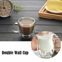 Heat Resistant Double Wall Cup Coffee Glass Tea Mug Insulated Mugs Espresso Cow Cups Wine Beer Cap With Handle